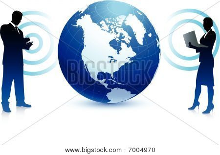 Wireless Internet Business Team Background With Globe