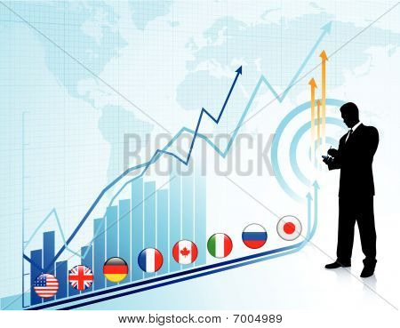 Businessman On Chart Background With Graph
