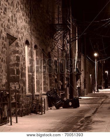 Lit Alley In Winter