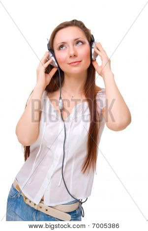 Girl In Headphones Listens To Music Looking Up