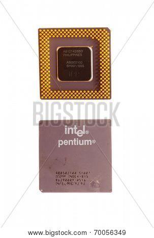Hayward, CA - August 11, 2014: Early Intel Pentium Microprocessor
