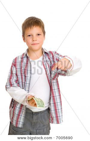 Boy Shows A Dollar In His Hands