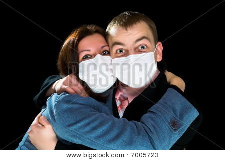Afraid Man And Woman Dressings Mask