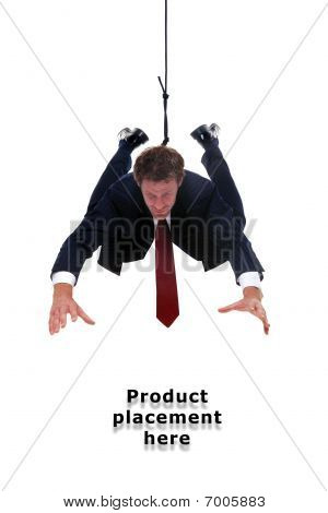Businessman Hanging By A Rope For Product Placement