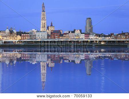 Antwerpen Skyline Reflecting In River
