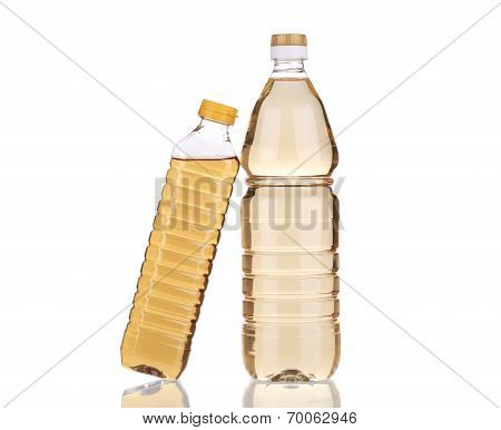 Two bottles of vinegar. Isolated on a white background. poster