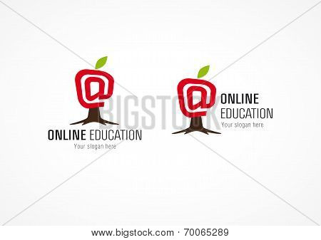 Online educational logo apple growing tree. Arroba email at symbol. Internet school or college vector sign. Learning and technologies growth.
