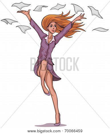 Girl Throwing Paper