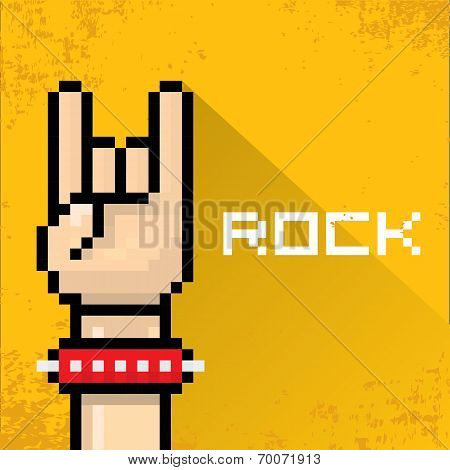 vector flat pixel art hand sign rock n roll music on on stylish orange grunge background. rock n roll icon poster