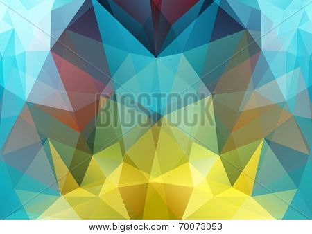 Illustration of polygon semi-symmetric abstract background yellow, blue and red colors poster