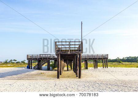 Wooden Pier At Dauphin Island