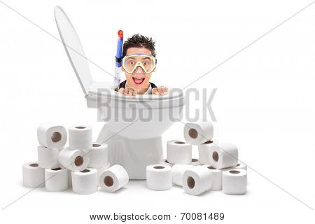 Man with diving mask emerging from a toilet with toilet paper around him isolated on white background poster