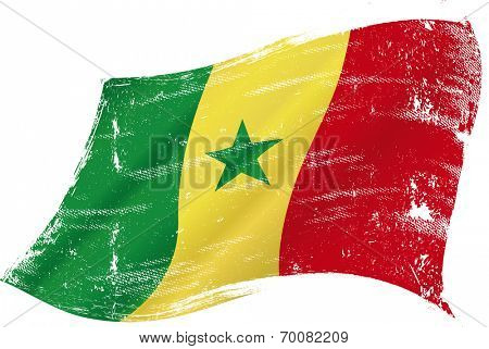 waving senegalese grunge flag. Flag of  Senegal in the wind with a texture
