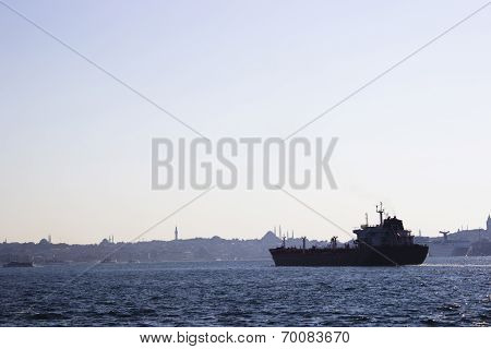 Container Ship On Bosphorus