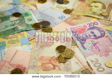 New ukrainian coins and banknotes background - Hrivna