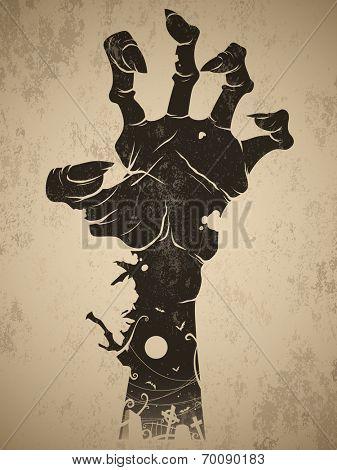 Vintage halloween icon - zombie hand