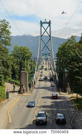 VANCOUVER, CANADA JULY 24: View of the Lions Gate Bridge on July 24, 2014