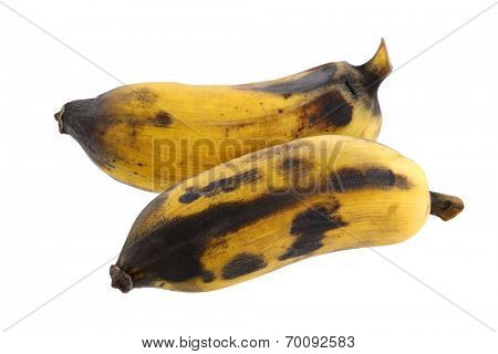 Peeled ripe Nam Wah Banana isolated on white