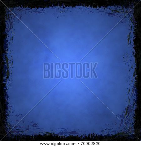 Blue Grunge Background. Abstract Vintage Texture With Frame And Border.