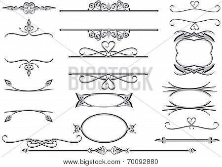 Victorian ornate floral labels , frames or rulelines