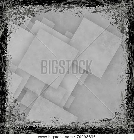 White, Grey, Silver Grunge Background. Abstract Vintage Texture With Frame And Border.