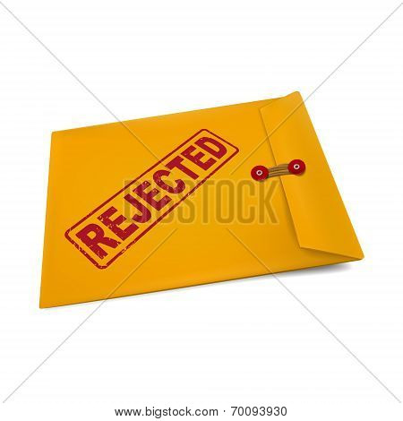 rejected stamp on manila envelope isolated on white poster