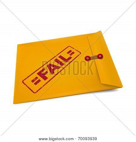 fail stamp on manila envelope isolated on white poster