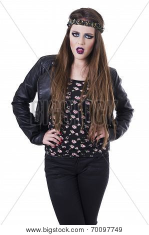 Beautiful teenage girl wearing black leather jacket