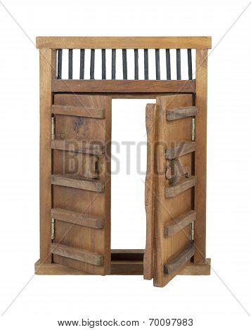 Wooden Castle Door With Wooden Bar Unlocked