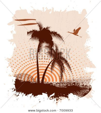 Grunge a banner with palm trees and a bird