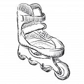 Roller skates sketch illustration. Vector. EPS 8 poster