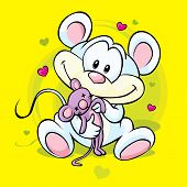 cute mouse holding doll sitting on abstract yellow background poster
