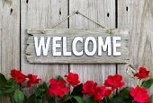 Weathered welcome sign hanging on wooden fence with flower border of red roses poster