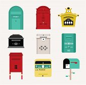 Vector mail boxes cute flat style set poster