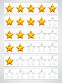 Rating buttons. Collection of yellow rating stars. poster