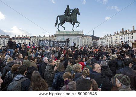 Lyon, France - January 11, 2015: Anti Terrorism Protest. 14