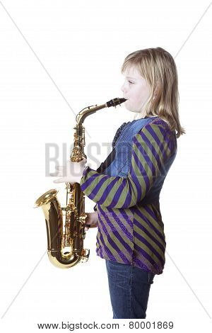 Young Blond Girl With Alto Saxophone In Studio