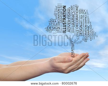 Concept conceptual abstract art design word cloud tagcloud tree on blue sky background