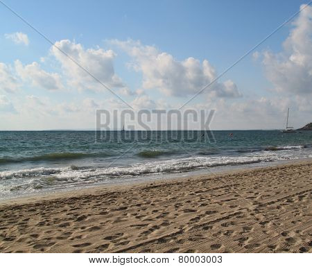 Empty sunny sandy beach with small waves