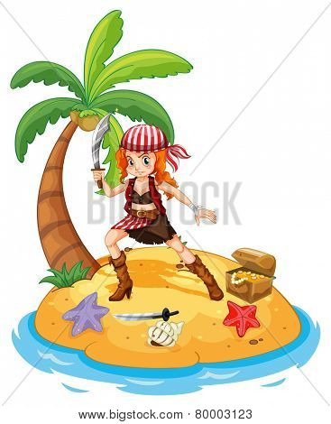 Illustration of a female pirate on an island