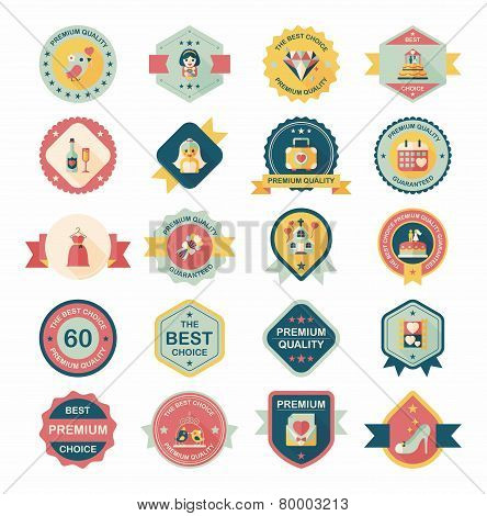 Wedding Badge Banner Flat Design Background Set,