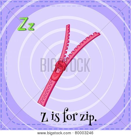 Illustration of an alphabet Z is for zip