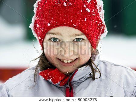 Smiling Cute Preschooler Girl Winter Portrait