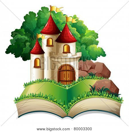 Illustration of a popup book of a castle