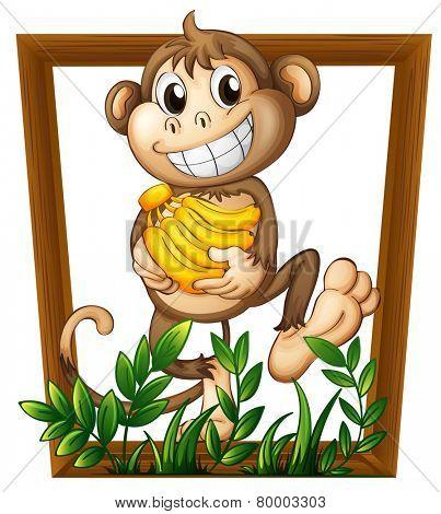 Illustration of a monkey holding bananas