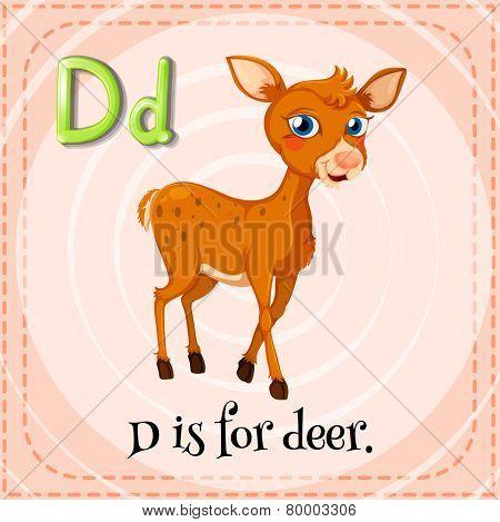 Illustration of an alphabet D is for deer