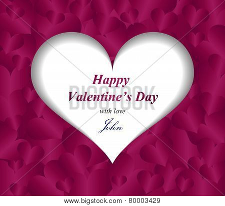 Valentine Greeting Card With Paper Heart And Purple Pattern