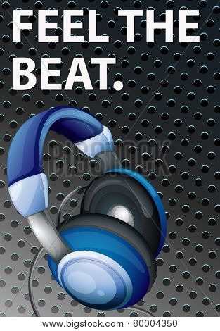 Illustration of a music poster with headphone