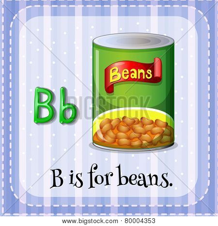 Illustration of an alphabet B is for beans