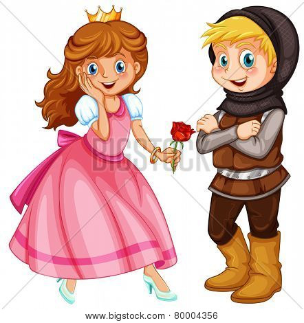 Illustration of a princess and a knight